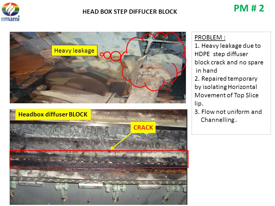 PM # 2 HEAD BOX STEP DIFFUCER BLOCK PROBLEM : 1. Heavy leakage due to