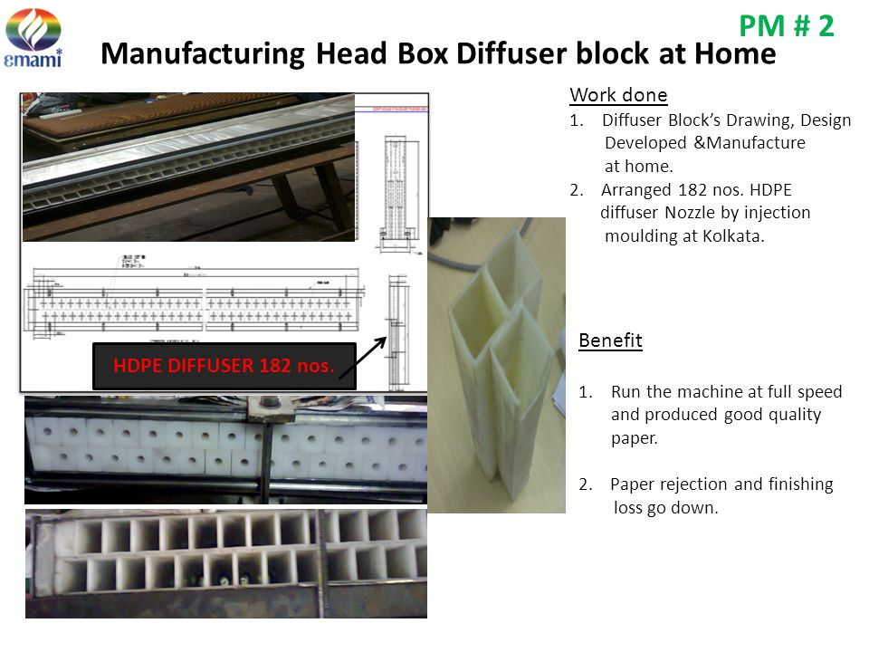 Manufacturing Head Box Diffuser block at Home