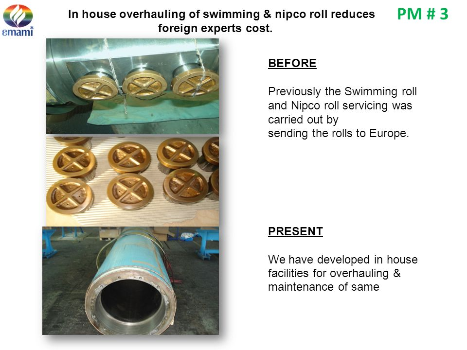 PM # 3 In house overhauling of swimming & nipco roll reduces foreign experts cost. BEFORE. Previously the Swimming roll.