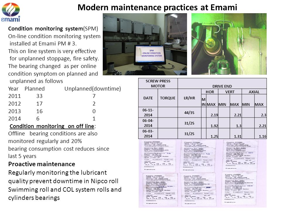 Modern maintenance practices at Emami