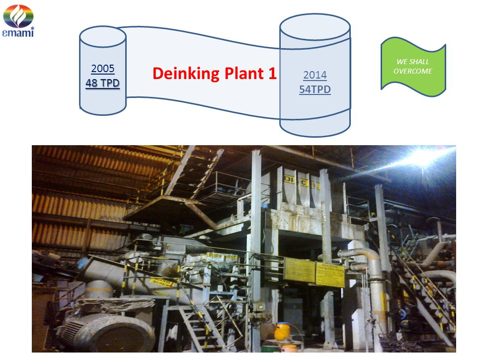 2014 54TPD 2005 48 TPD Deinking Plant 1 WE SHALL OVERCOME