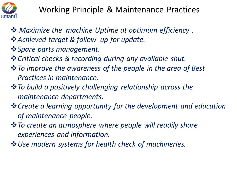Working Principle & Maintenance Practices