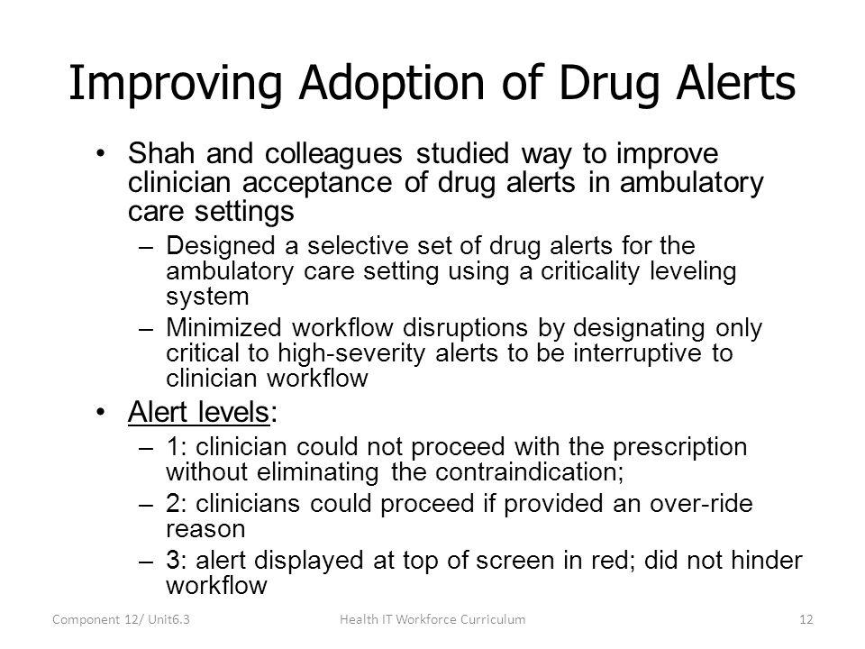 Improving Adoption of Drug Alerts