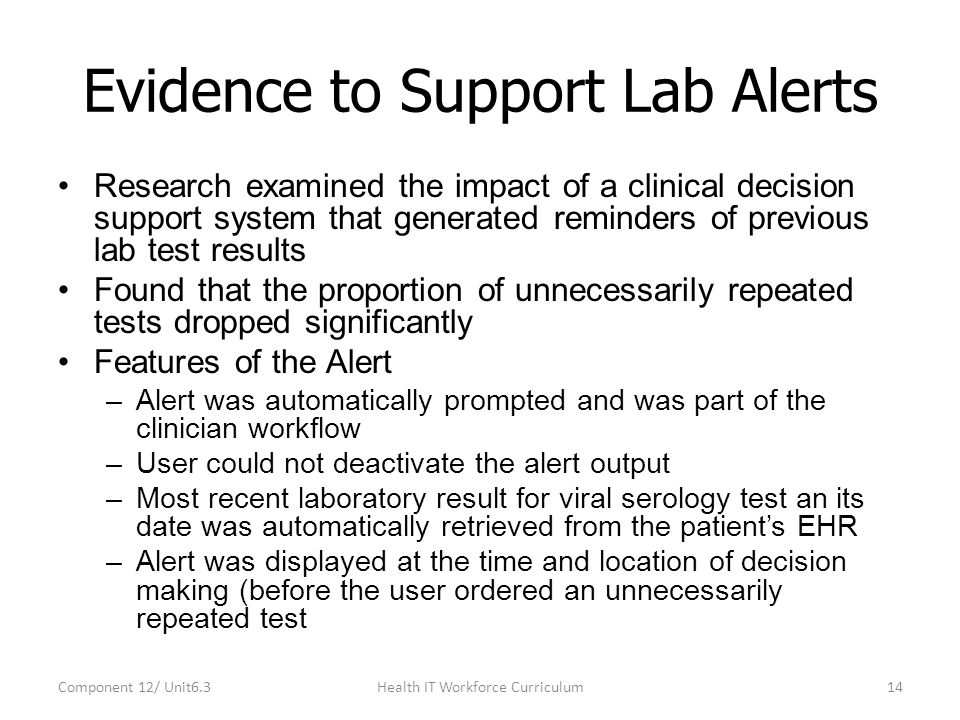 Evidence to Support Lab Alerts