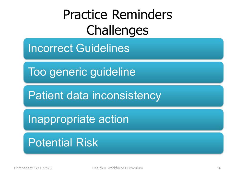 Practice Reminders Challenges