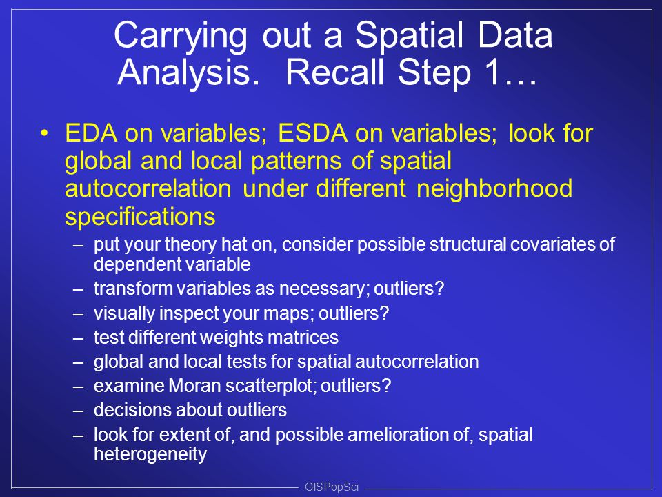 Carrying out a Spatial Data Analysis. Recall Step 1…
