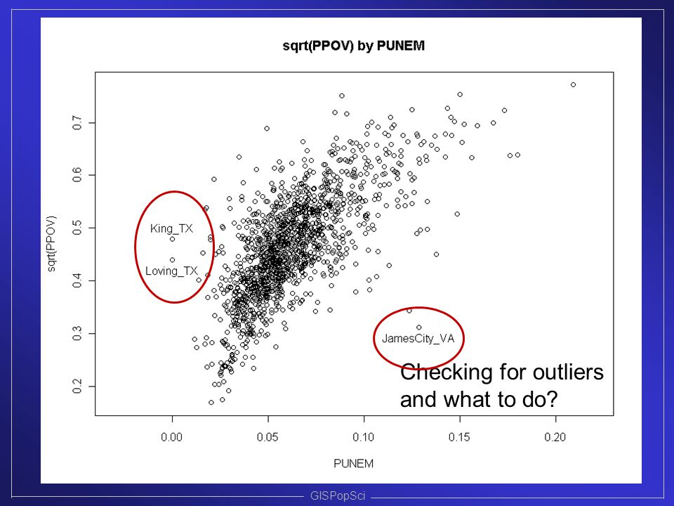 Checking for outliers and what to do GISPopSci