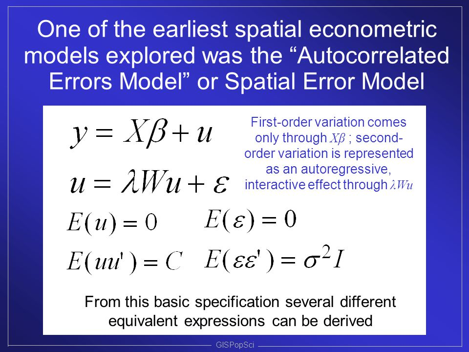 One of the earliest spatial econometric models explored was the Autocorrelated Errors Model or Spatial Error Model