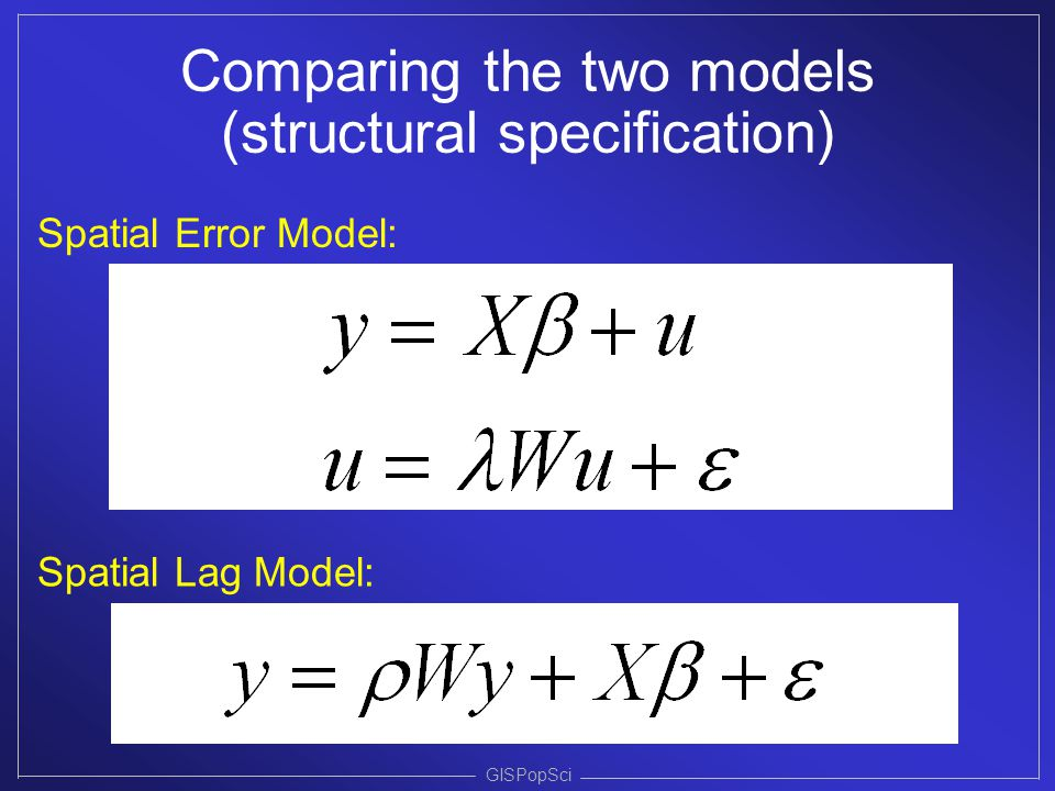 Comparing the two models (structural specification)