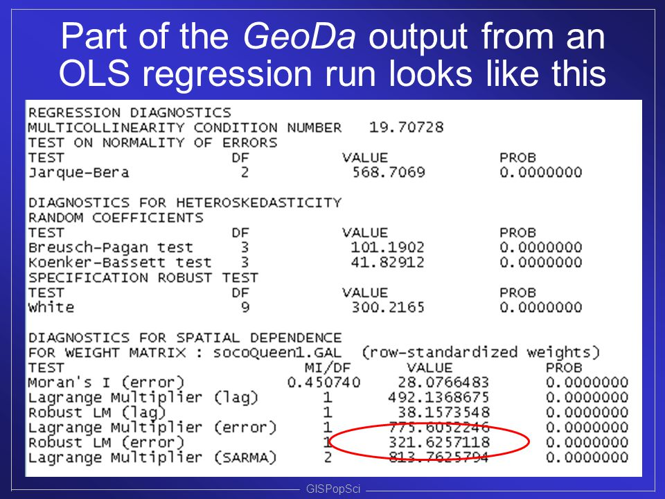 Part of the GeoDa output from an OLS regression run looks like this