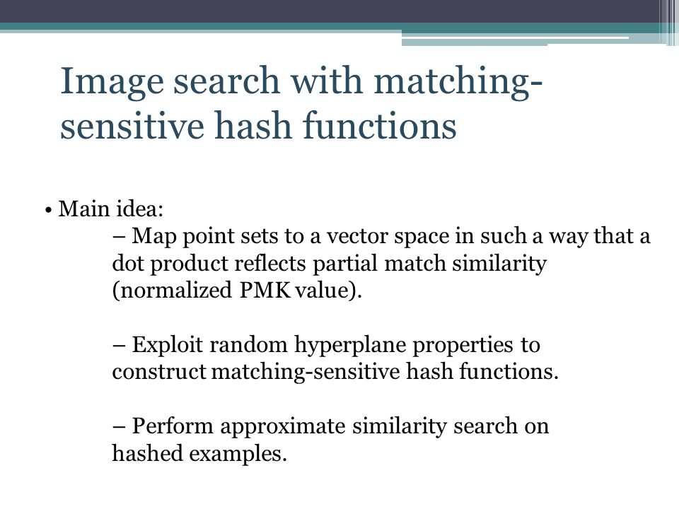 Image search with matching- sensitive hash functions
