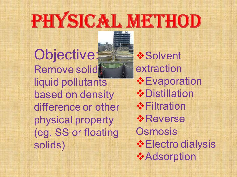PHYSICAL METHOD Objective: Solvent extraction Remove solid or