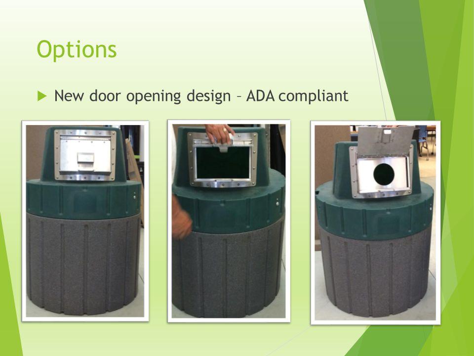 Options New door opening design – ADA compliant
