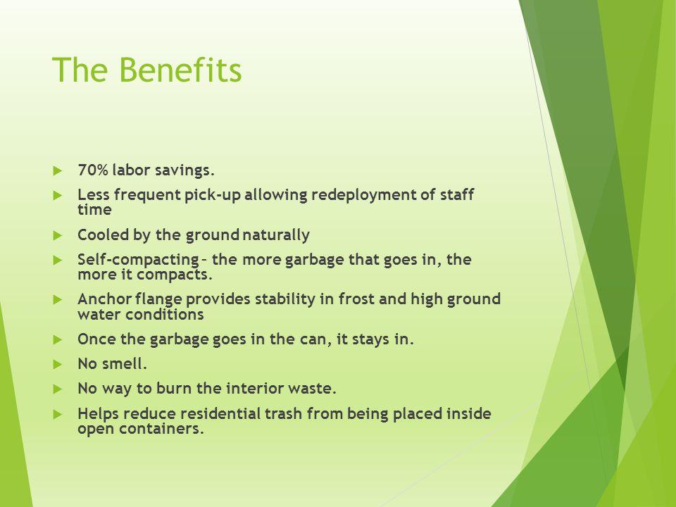 The Benefits 70% labor savings.