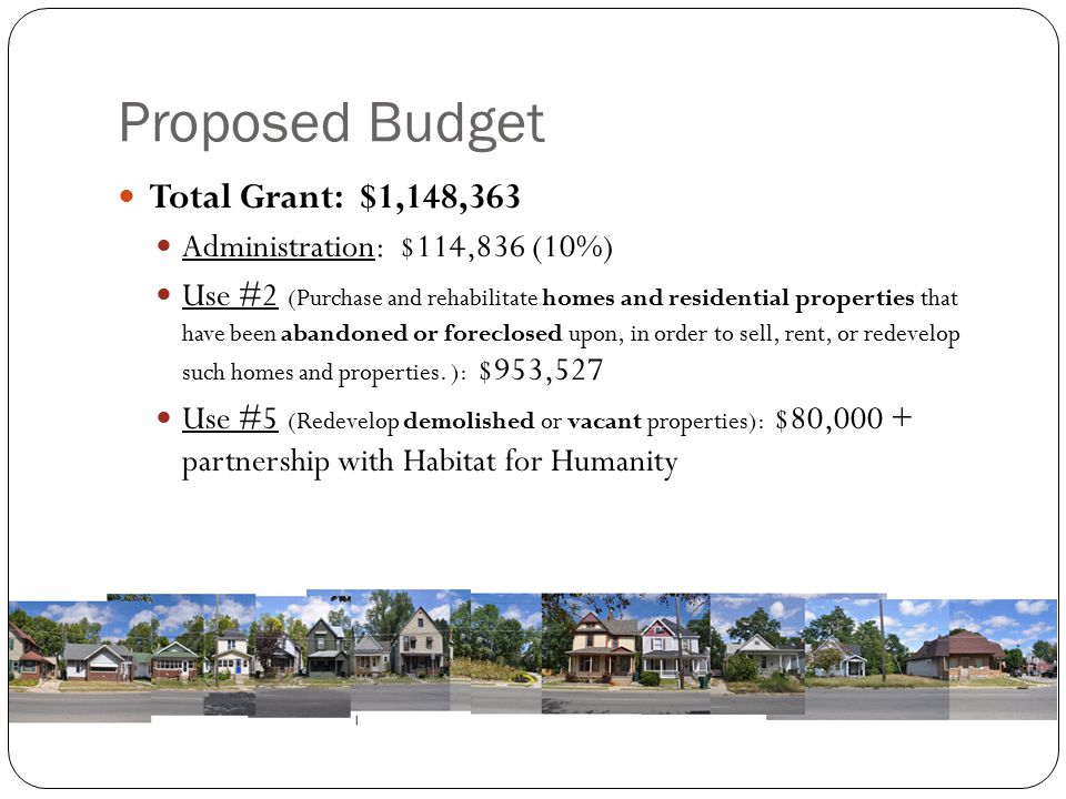 Proposed Budget Total Grant: $1,148,363 Administration: $114,836 (10%)