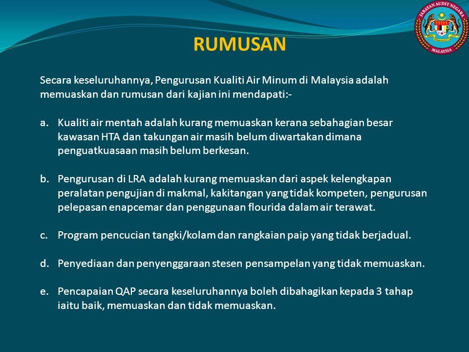 RUMUSAN Secara keseluruhannya, Pengurusan Kualiti Air Minum di Malaysia adalah memuaskan dan rumusan dari kajian ini mendapati:-