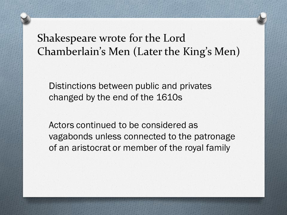 Shakespeare wrote for the Lord Chamberlain's Men (Later the King's Men)