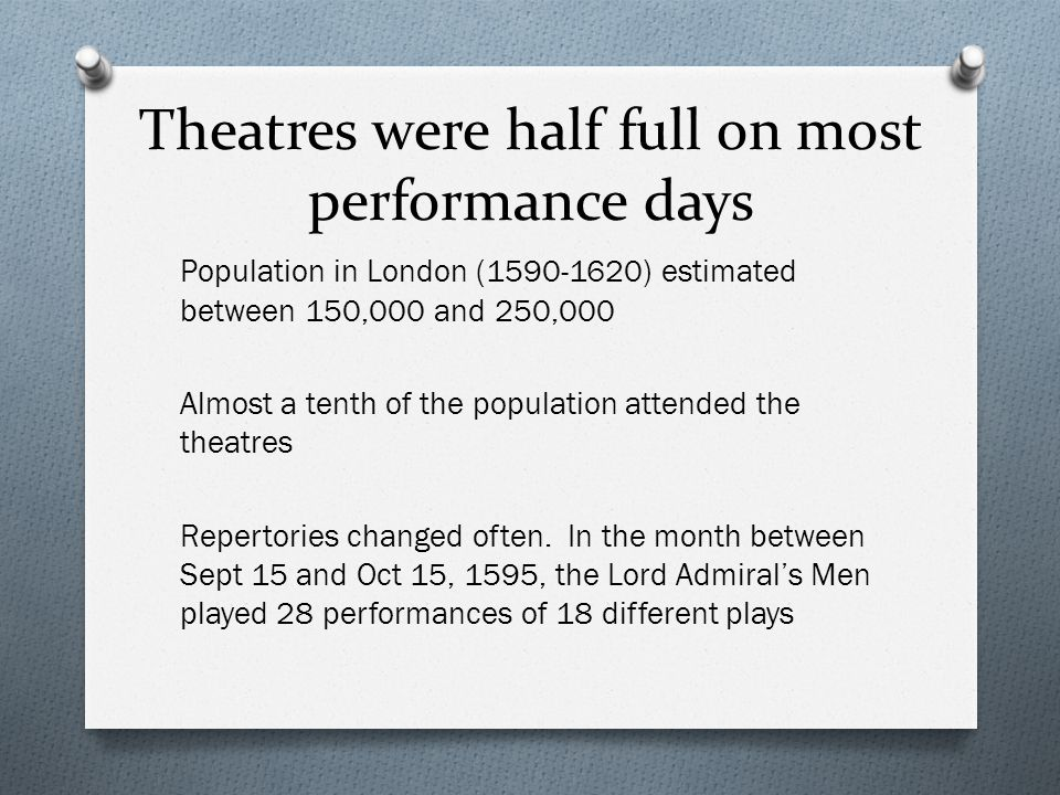 Theatres were half full on most performance days