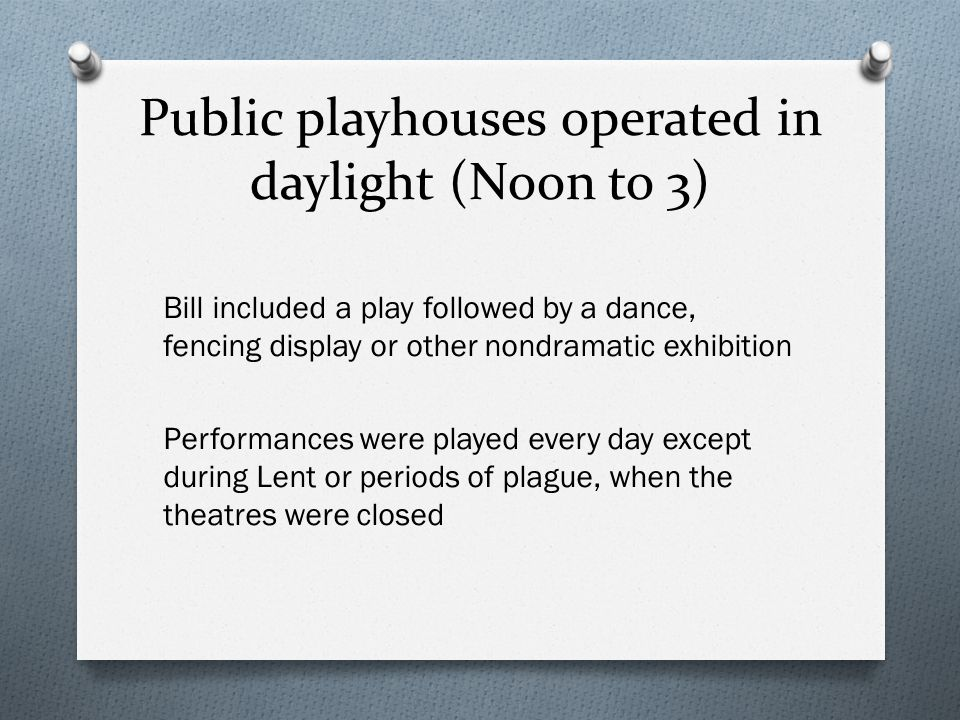 Public playhouses operated in daylight (Noon to 3)