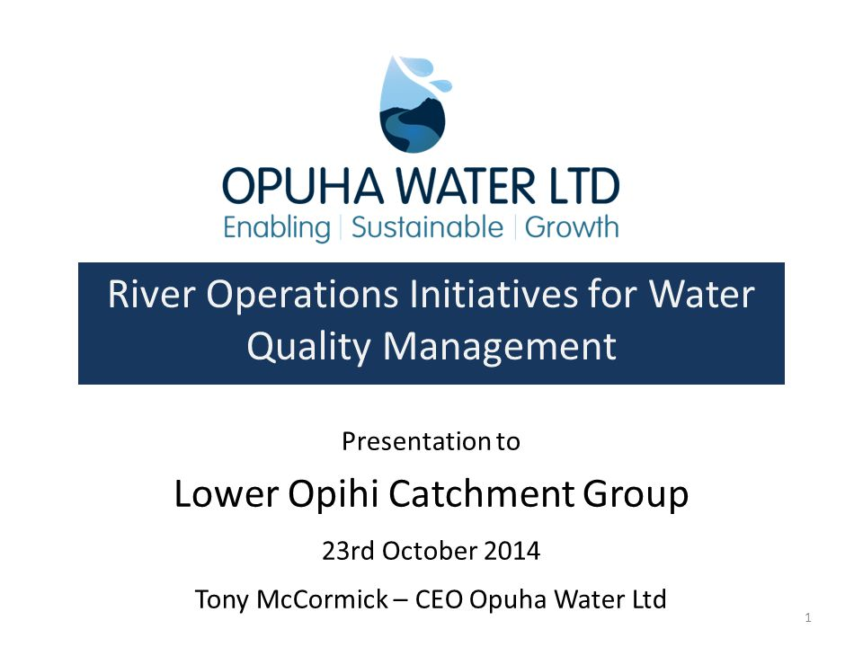River Operations Initiatives for Water Quality Management
