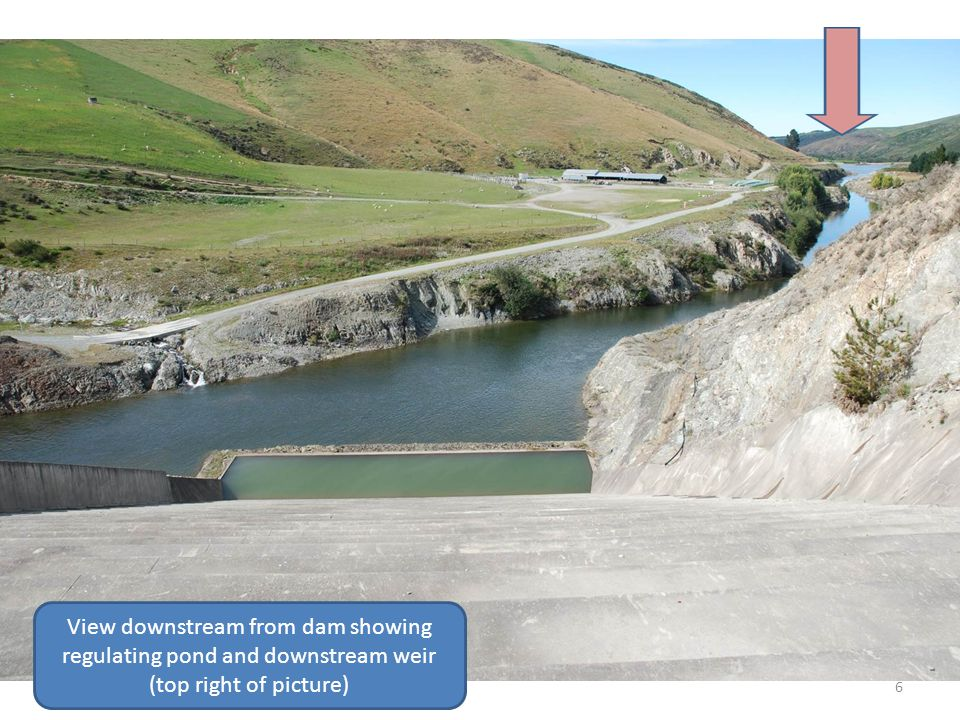 View downstream from dam showing regulating pond and downstream weir (top right of picture)