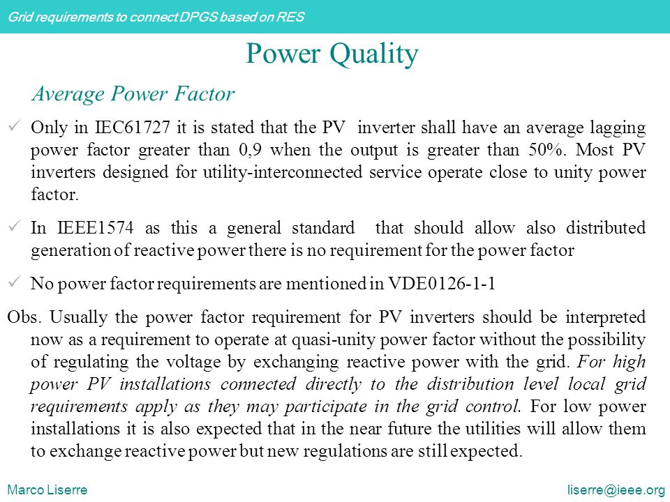 Power Quality Average Power Factor