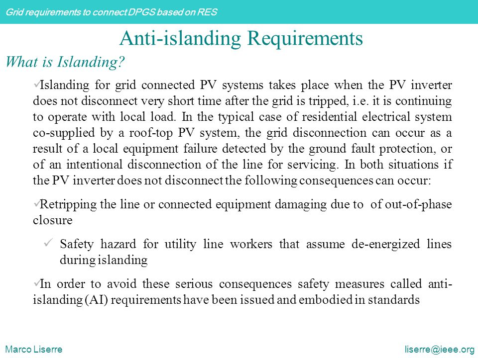 Anti-islanding Requirements
