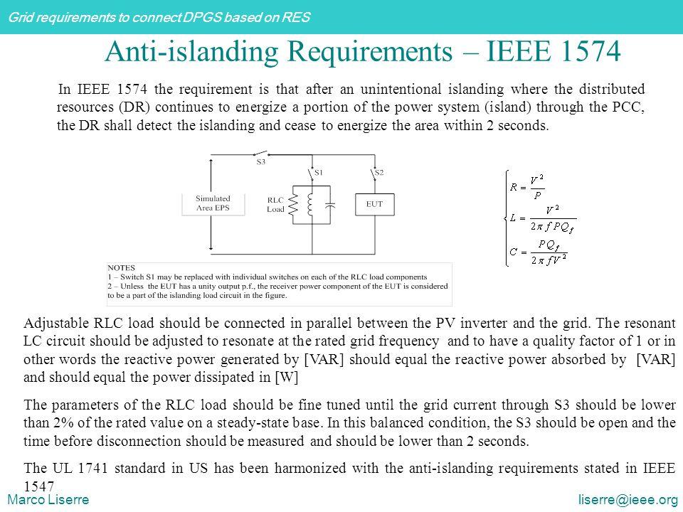 Anti-islanding Requirements – IEEE 1574