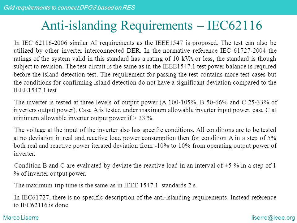 Anti-islanding Requirements – IEC62116