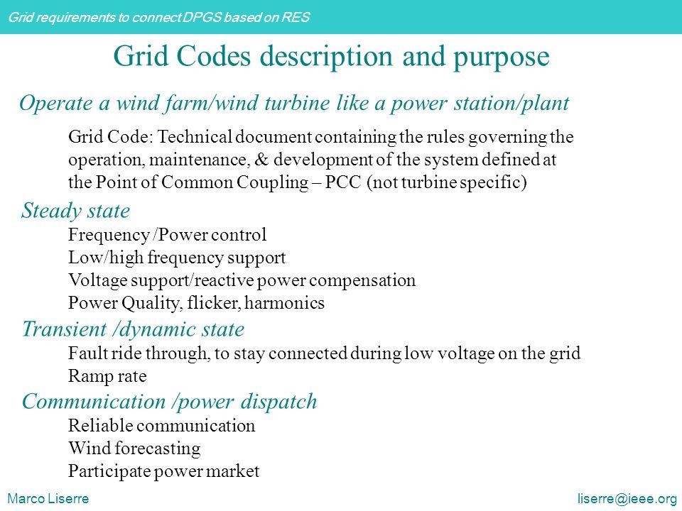 Grid Codes description and purpose