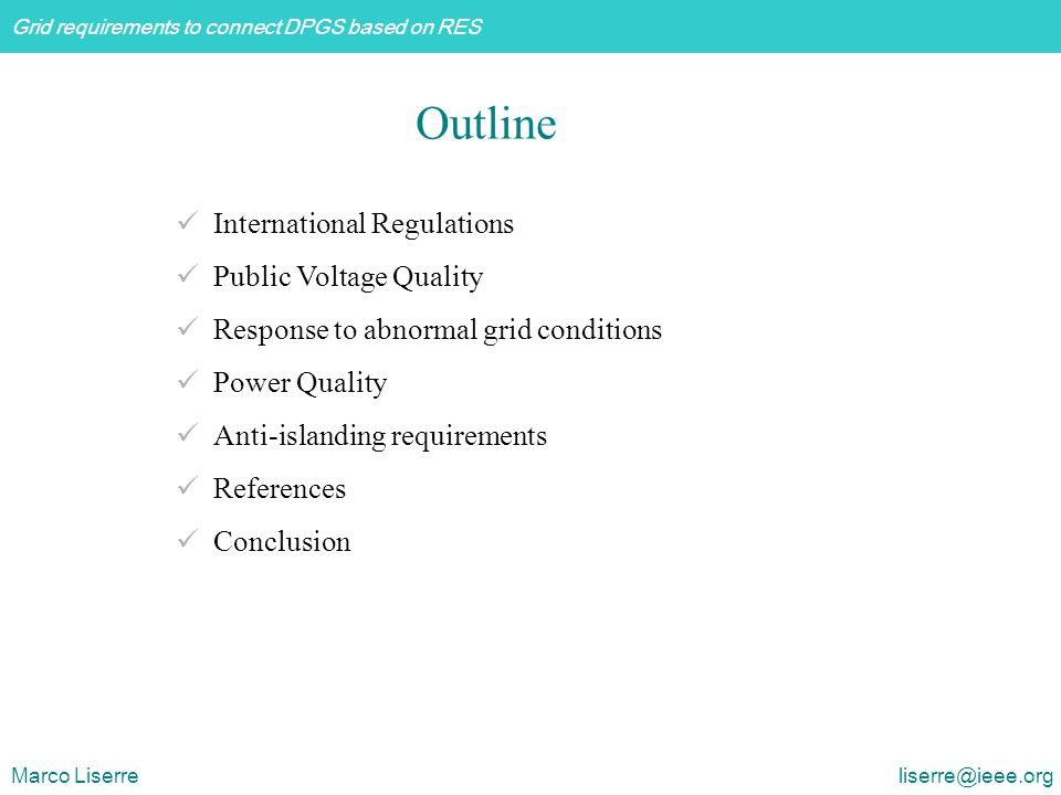Outline International Regulations Public Voltage Quality
