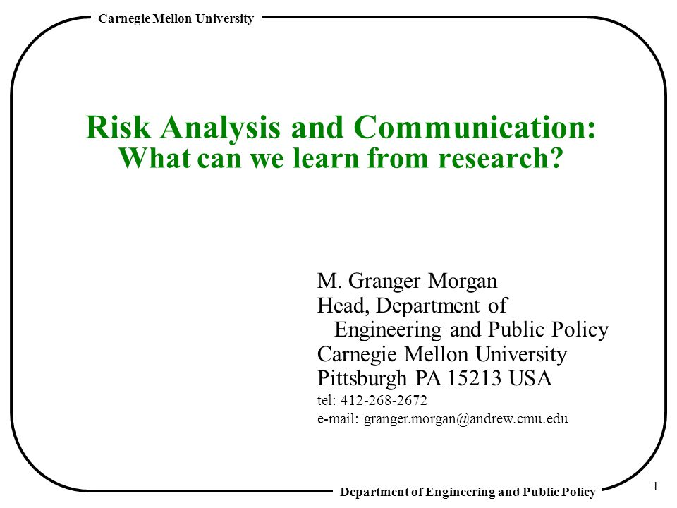 Risk Analysis and Communication: What can we learn from research
