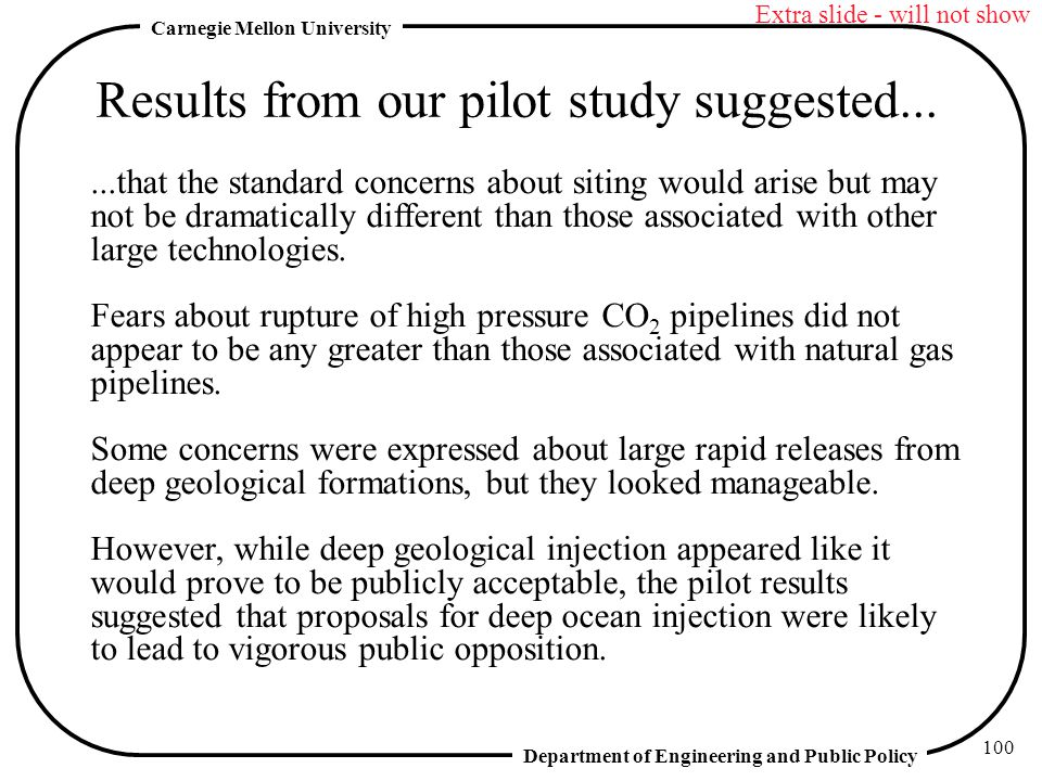 Results from our pilot study suggested...