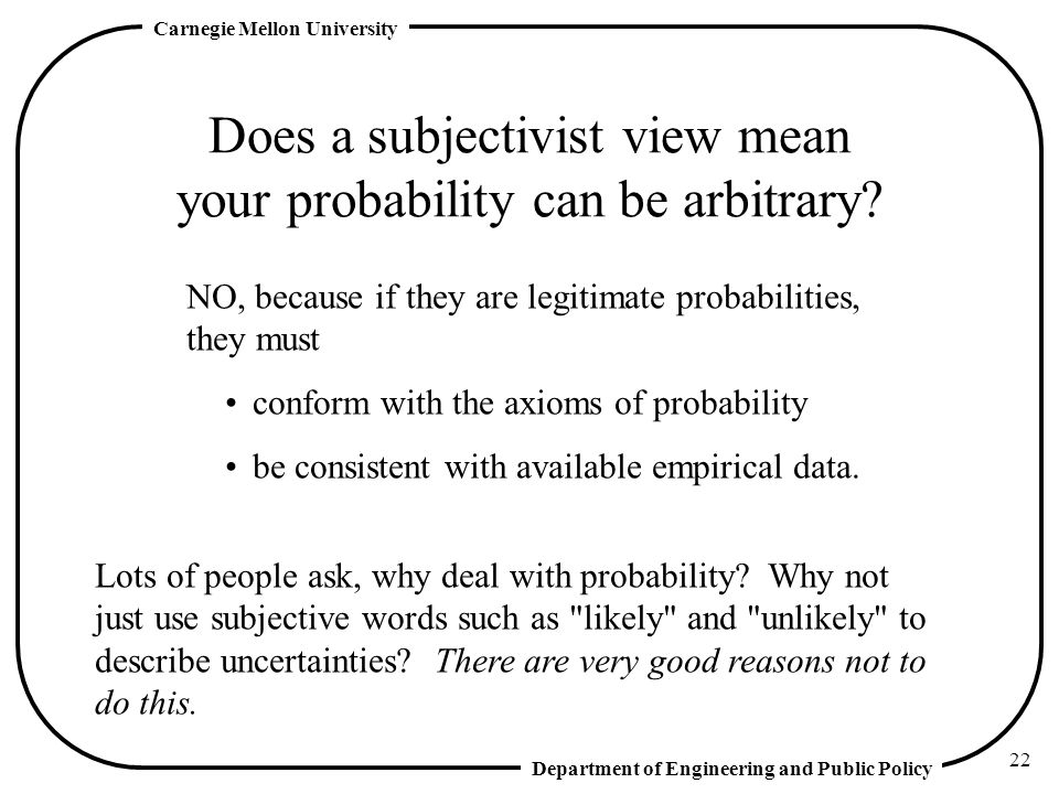 Does a subjectivist view mean your probability can be arbitrary