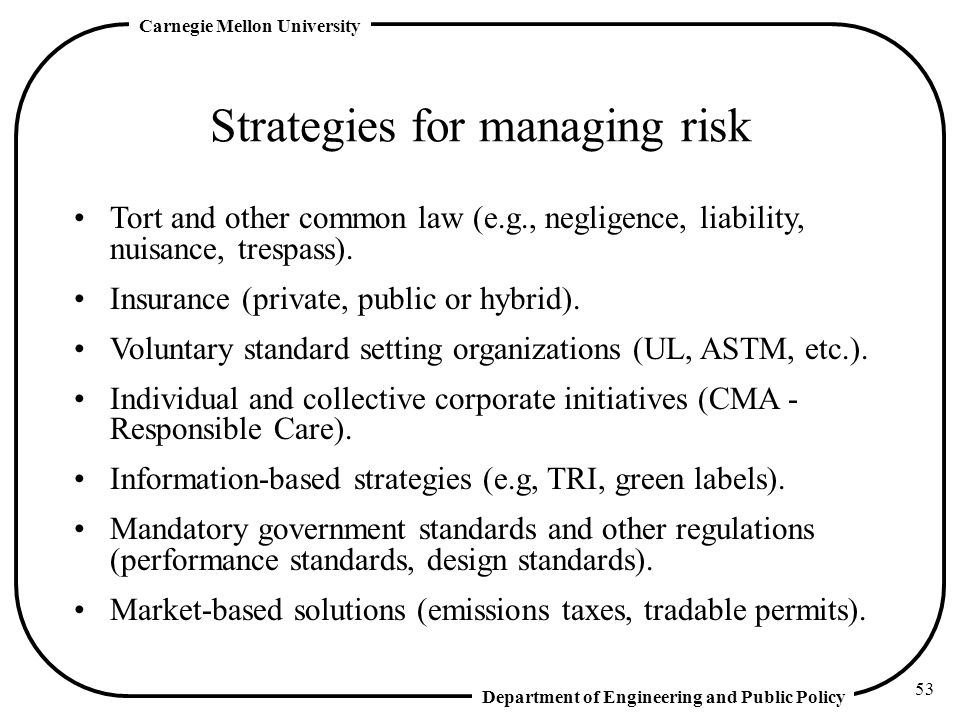 Strategies for managing risk