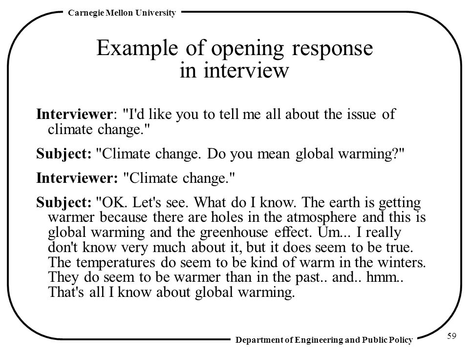 Example of opening response in interview