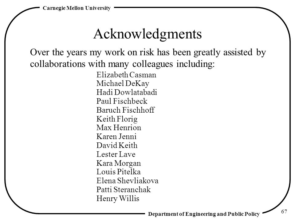 Acknowledgments Over the years my work on risk has been greatly assisted by collaborations with many colleagues including: