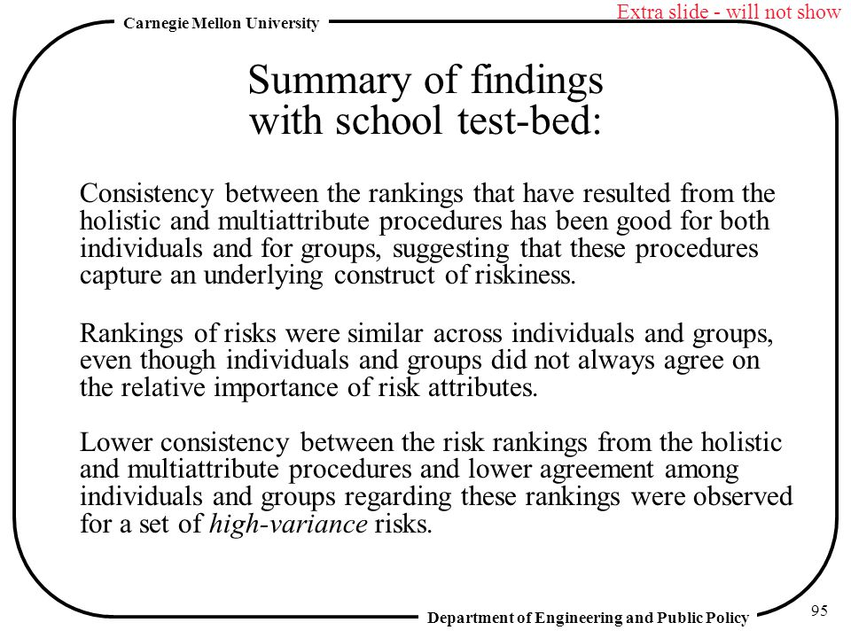 Summary of findings with school test-bed:
