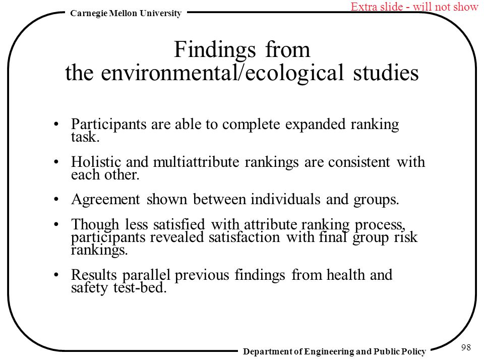 Findings from the environmental/ecological studies