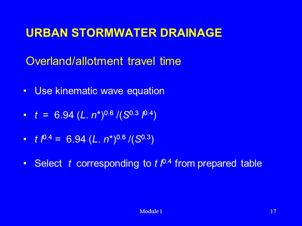 URBAN STORMWATER DRAINAGE Overland/allotment travel time