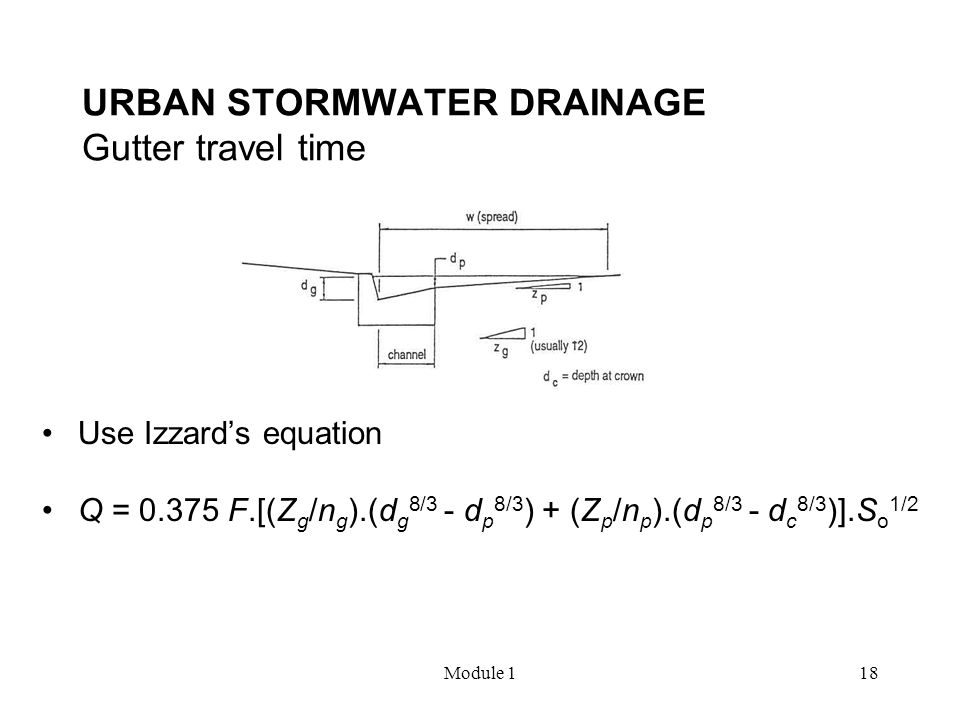 URBAN STORMWATER DRAINAGE Gutter travel time