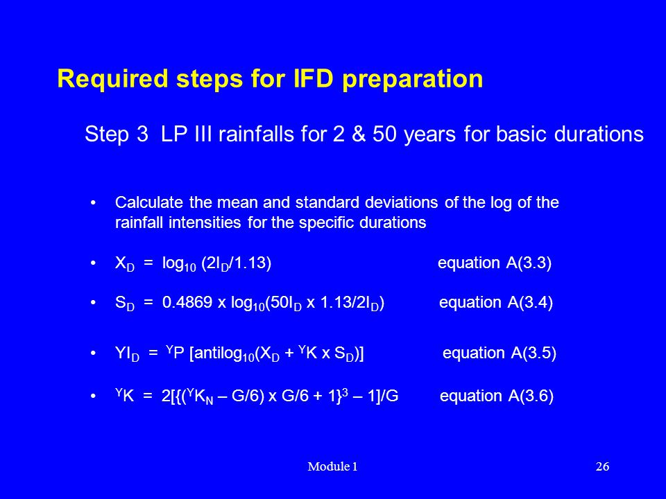 Required steps for IFD preparation
