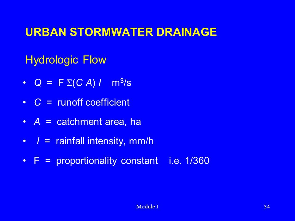 URBAN STORMWATER DRAINAGE Hydrologic Flow
