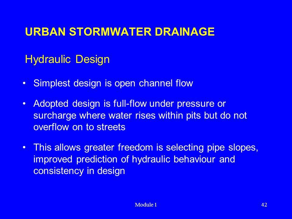 URBAN STORMWATER DRAINAGE Hydraulic Design