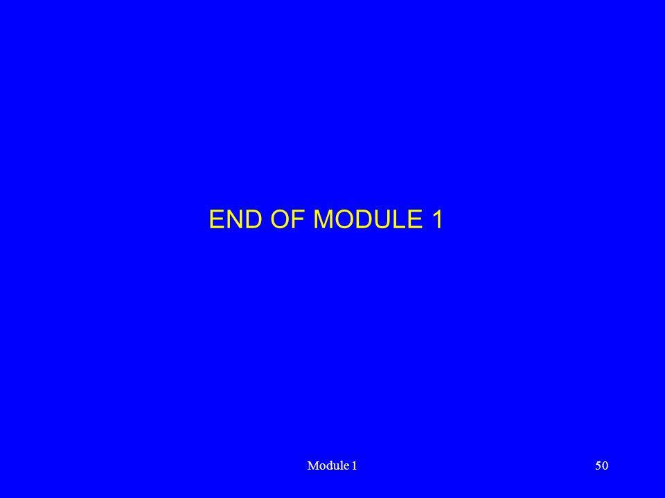 END OF MODULE 1 Module 1