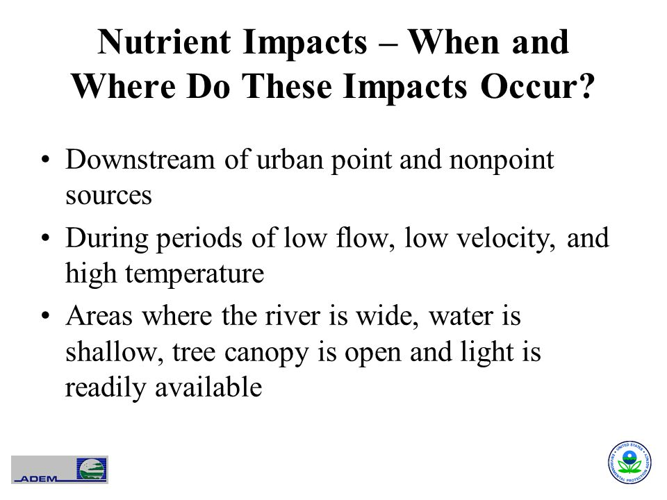 Nutrient Impacts – When and Where Do These Impacts Occur