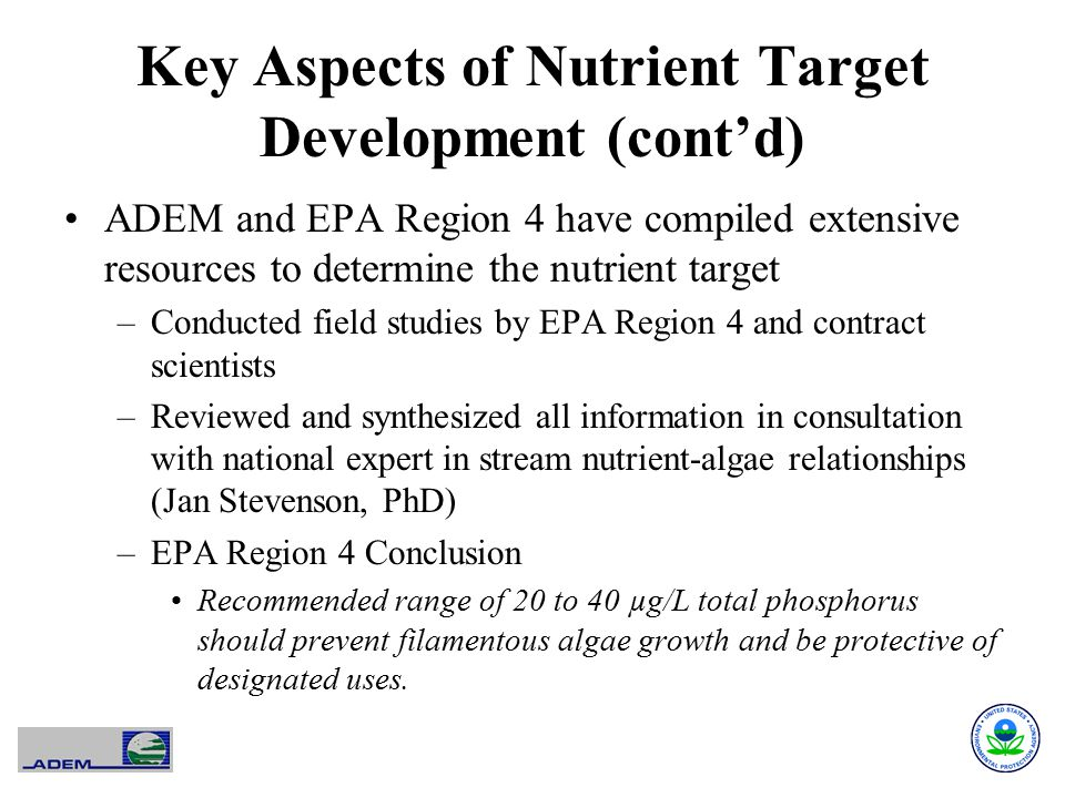 Key Aspects of Nutrient Target Development (cont'd)