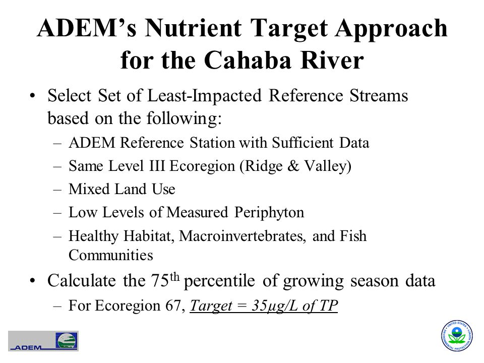 ADEM's Nutrient Target Approach for the Cahaba River