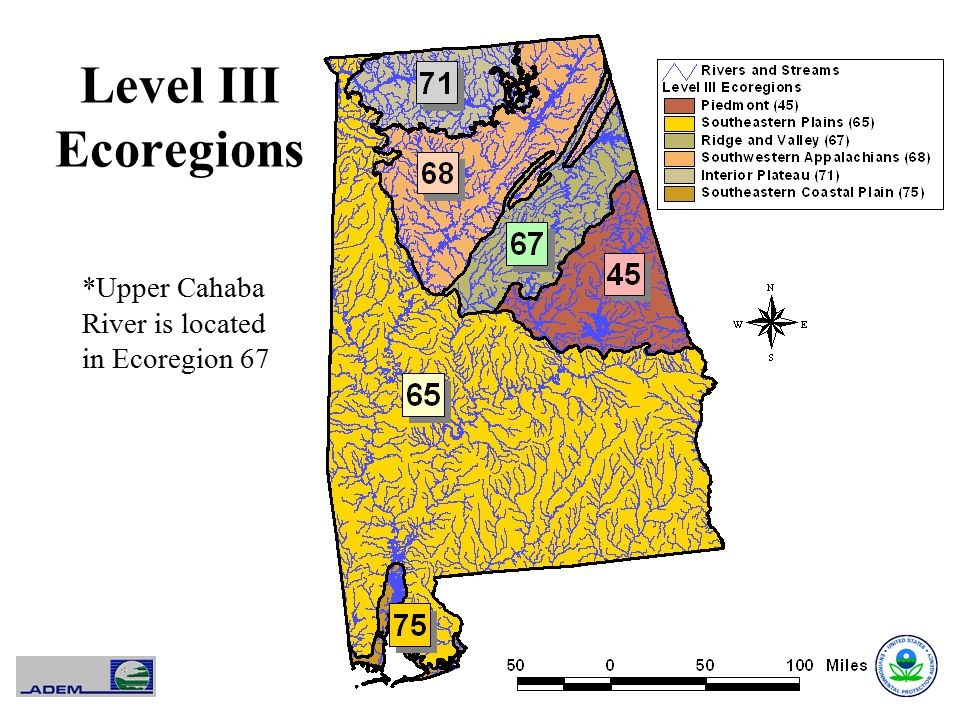 Level III Ecoregions *Upper Cahaba River is located in Ecoregion 67