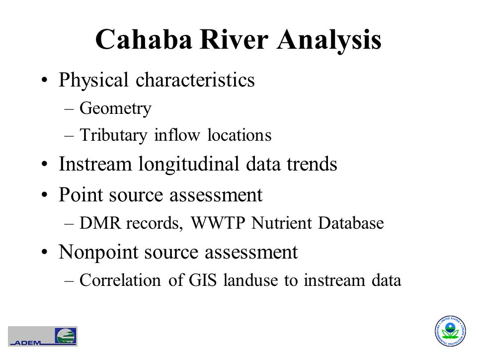 Cahaba River Analysis Physical characteristics